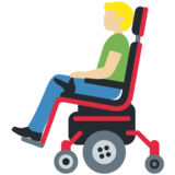 Man in Motorized Wheelchair: Medium-Light Skin Tone on Twitter Twemoji 12.1.3