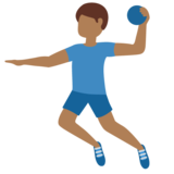 Man Playing Handball: Medium-Dark Skin Tone on Twitter Twemoji 12.1.3