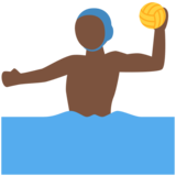 Man Playing Water Polo: Dark Skin Tone on Twitter Twemoji 12.1.3