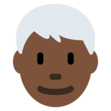 Man: Dark Skin Tone, White Hair on Twitter Twemoji 12.1.3