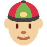 Person With Skullcap: Medium-Light Skin Tone on Twitter Twemoji 12.1.3