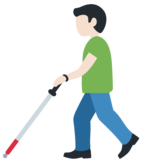 Man with Probing Cane: Light Skin Tone on Twitter Twemoji 12.1.3