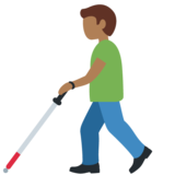 Man with Probing Cane: Medium-Dark Skin Tone on Twitter Twemoji 12.1.3