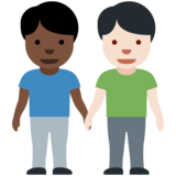 Men Holding Hands: Dark Skin Tone, Light Skin Tone on Twitter Twemoji 12.1.3