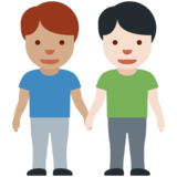 Men Holding Hands: Medium Skin Tone, Light Skin Tone on Twitter Twemoji 12.1.3