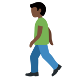 Person Walking: Dark Skin Tone on Twitter Twemoji 12.1.3