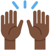 Raising Hands: Dark Skin Tone on Twitter Twemoji 12.1.3