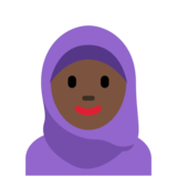 Woman with Headscarf: Dark Skin Tone on Twitter Twemoji 12.1.3