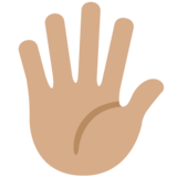 Hand with Fingers Splayed: Medium Skin Tone on Twitter Twemoji 12.1.3