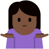 Person Shrugging: Dark Skin Tone on Twitter Twemoji 12.1.3