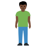 Person Standing: Dark Skin Tone on Twitter Twemoji 12.1.3