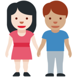 Woman and Man Holding Hands: Light Skin Tone, Medium Skin Tone on Twitter Twemoji 12.1.3