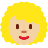 Woman: Medium-Light Skin Tone, Curly Hair on Twitter Twemoji 12.1.3