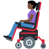 Woman in Motorized Wheelchair: Dark Skin Tone on Twitter Twemoji 12.1.3