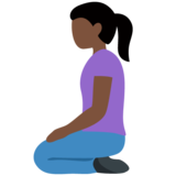 Woman Kneeling: Dark Skin Tone on Twitter Twemoji 12.1.3