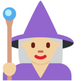Woman Mage: Medium-Light Skin Tone on Twitter Twemoji 12.1.3