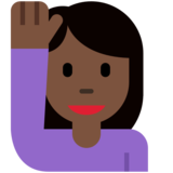 Woman Raising Hand: Dark Skin Tone on Twitter Twemoji 12.1.3