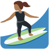 Woman Surfing: Medium-Dark Skin Tone on Twitter Twemoji 12.1.3