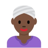 Woman Wearing Turban: Dark Skin Tone on Twitter Twemoji 12.1.3
