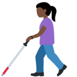 Woman with Probing Cane: Dark Skin Tone on Twitter Twemoji 12.1.3