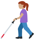 Woman with Probing Cane: Medium Skin Tone on Twitter Twemoji 12.1.3