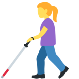 Woman with Probing Cane on Twitter Twemoji 12.1.3