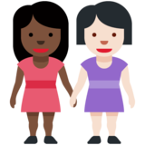 Women Holding Hands: Dark Skin Tone, Light Skin Tone on Twitter Twemoji 12.1.3