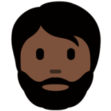 Person: Dark Skin Tone, Beard on Twitter Twemoji 12.1.4