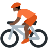 Person Biking: Dark Skin Tone on Twitter Twemoji 12.1.4