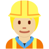 Construction Worker: Medium-Light Skin Tone on Twitter Twemoji 12.1.4