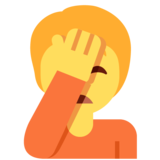 Person Facepalming on Twitter Twemoji 12.1.4