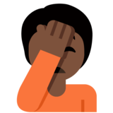 Person Facepalming: Dark Skin Tone on Twitter Twemoji 12.1.4
