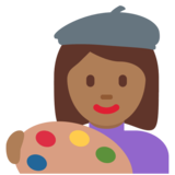 Woman Artist: Medium-Dark Skin Tone on Twitter Twemoji 12.1.4