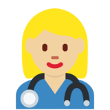 Woman Health Worker: Medium-Light Skin Tone on Twitter Twemoji 12.1.4
