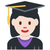 Woman Student: Light Skin Tone on Twitter Twemoji 12.1.4
