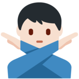 Man Gesturing No: Light Skin Tone on Twitter Twemoji 12.1.4