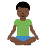 Man in Lotus Position: Dark Skin Tone on Twitter Twemoji 12.1.4