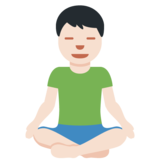 Man in Lotus Position: Light Skin Tone on Twitter Twemoji 12.1.4