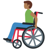 Man in Manual Wheelchair: Medium-Dark Skin Tone on Twitter Twemoji 12.1.4