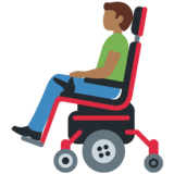 Man in Motorized Wheelchair: Medium-Dark Skin Tone on Twitter Twemoji 12.1.4