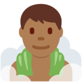 Man in Steamy Room: Medium-Dark Skin Tone on Twitter Twemoji 12.1.4