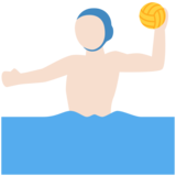 Man Playing Water Polo: Light Skin Tone on Twitter Twemoji 12.1.4