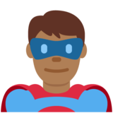 Man Superhero: Medium-Dark Skin Tone on Twitter Twemoji 12.1.4