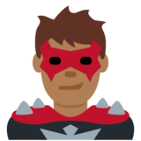 Man Supervillain: Medium-Dark Skin Tone on Twitter Twemoji 12.1.4