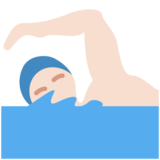 Man Swimming: Light Skin Tone on Twitter Twemoji 12.1.4
