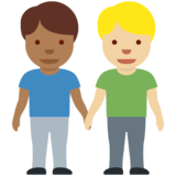 Men Holding Hands: Medium-Dark Skin Tone, Medium-Light Skin Tone on Twitter Twemoji 12.1.4