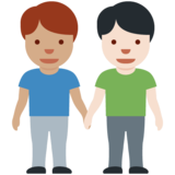 Men Holding Hands: Medium Skin Tone, Light Skin Tone on Twitter Twemoji 12.1.4
