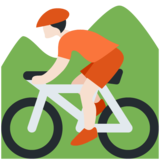 Person Mountain Biking: Light Skin Tone on Twitter Twemoji 12.1.4