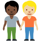People Holding Hands: Dark Skin Tone, Medium-Light Skin Tone on Twitter Twemoji 12.1.4