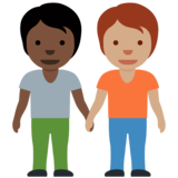 People Holding Hands: Dark Skin Tone, Medium Skin Tone on Twitter Twemoji 12.1.4